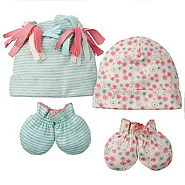 Gerber® 4-Piece Floral Stripes Organic Cotton Cap and Mitten Set