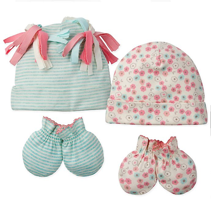 Alternate image 1 for Gerber® 4-Piece Floral Stripes Organic Cotton Cap and Mitten Set