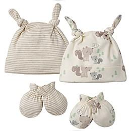Gerber® Preemie 4-Piece Squirrel Organic Cotton Cap and Mitten Set