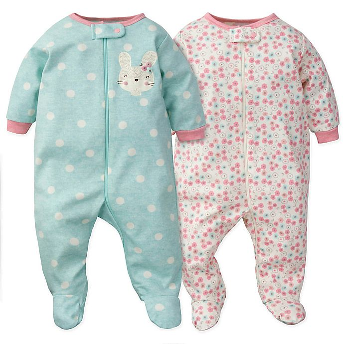 Alternate image 1 for Gerber® 2-Pack Bunny Floral Organic Cotton Sleep N' Play Footies in Coral