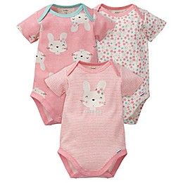 Gerber® 3-Pack Bunny Floral Organic Cotton Bodysuits in Coral