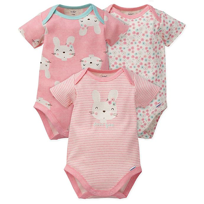 Alternate image 1 for Gerber® 3-Pack Bunny Floral Organic Cotton Bodysuits in Coral