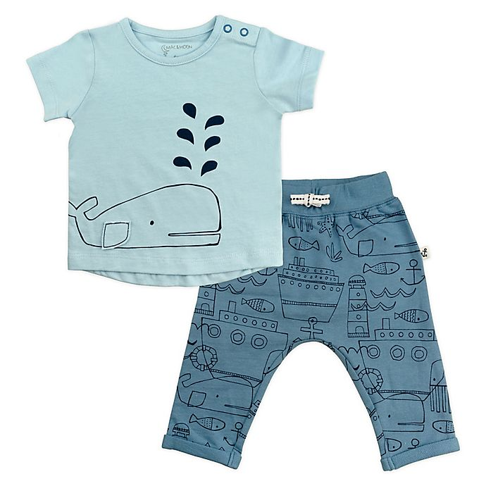 Alternate image 1 for Mac & Moon Baby Boys 2-Piece Nautical Set in Blue