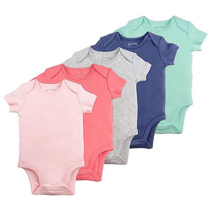 Alternate image 1 for Mac & Moon 5-Pack Short Sleeve Bodysuits