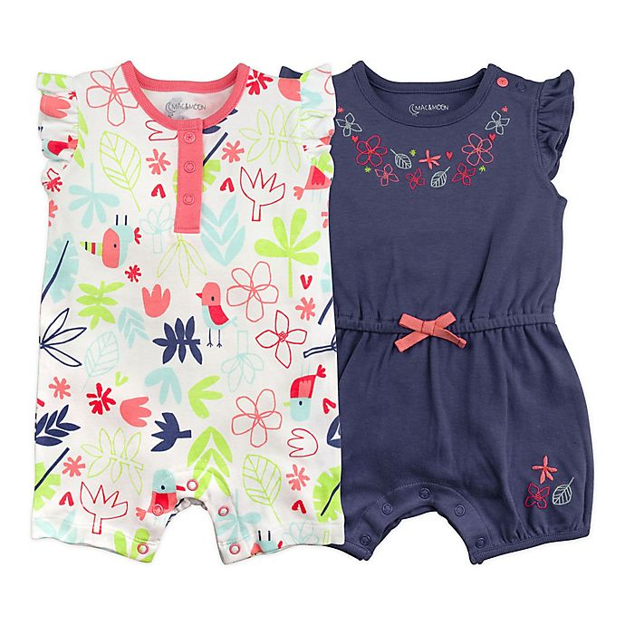 Alternate image 1 for Mac & Moon 2-Pack Floral Multicolor Short Sleeve Rompers