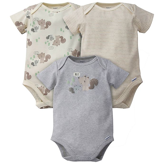 Alternate image 1 for Gerber® Onesies® 3-Pack Squirrel Organic Cotton Bodysuits