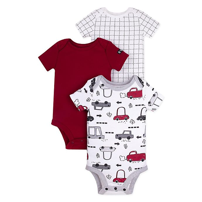 Alternate image 1 for Lamaze® 3-Pack Car Bodysuits in Burgundy
