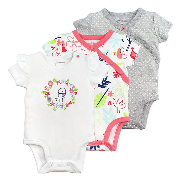 Alternate image 1 for Mac & Moon 3-Pack Floral Short Sleeve Bodysuits