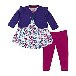 Lamaze® 3-Piece Organic Cotton Floral Dress, Cardigan, and Legging Set