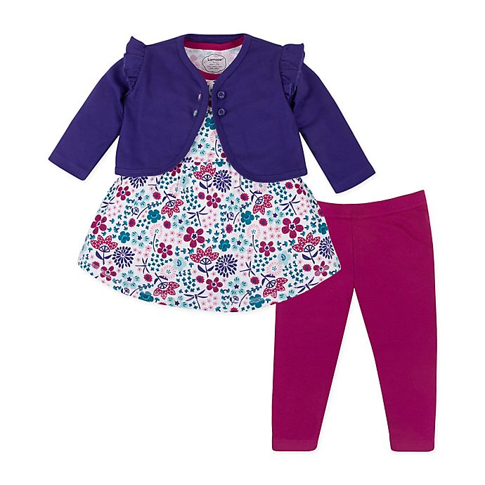 Alternate image 1 for Lamaze® 3-Piece Organic Cotton Floral Dress, Cardigan, and Legging Set