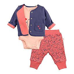 Mac & Moon 3-Piece Bird Bodysuit, Cardigan, and Pant Set