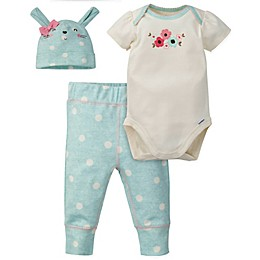 Gerber® 3-Piece Floral Bunny Organic Cotton Bodysuit, Pant, and Cap Set in Coral