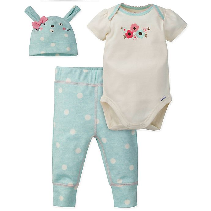 Alternate image 1 for Gerber® 3-Piece Floral Bunny Organic Cotton Bodysuit, Pant, and Cap Set in Coral