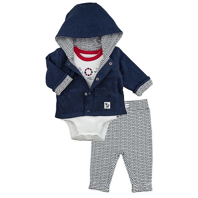Alternate image 1 for Mac & Moon 3-Piece Nautical Bodysuit, Hooded Jacket, and Pant Set