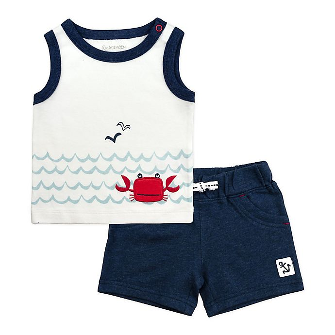Alternate image 1 for Mac & Moon 2-Piece Crab Sleeveless Shirt and Short Set