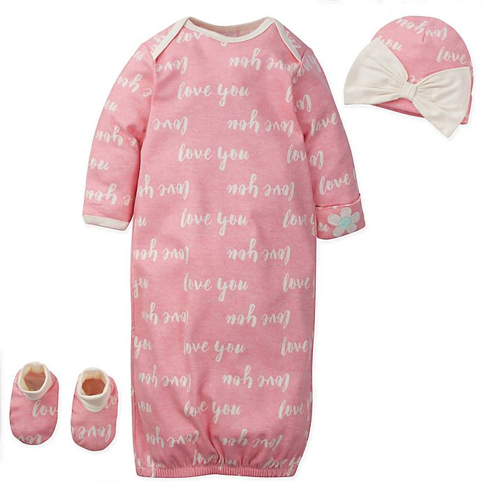 Gerber 3-Piece Organic Cotton Gown, Cap, and Bootie Set (Girls)