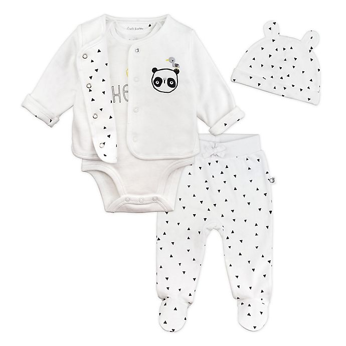 Alternate image 1 for Mac & Moon 4-Piece Panda Bodysuit, Cardigan, Pant, and Hat Set