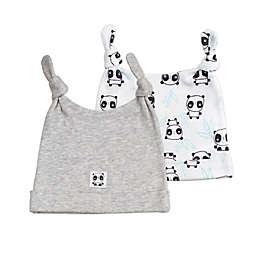 Mac & Moon 2-Pack Panda Knot Hat in Grey/White