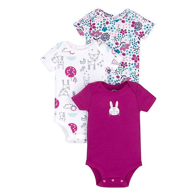 Alternate image 1 for Lamaze® 3-Pack Floral Bunny Short Sleeve Organic Cotton Bodysuits