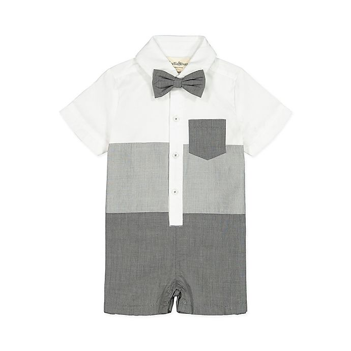 Alternate image 1 for Beetle & Thread Striped Bow Tie Coverall in Grey