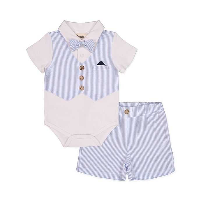 Alternate image 1 for Beetle & Thread Polo 2-Piece Shirtzie and Shorts Set in White