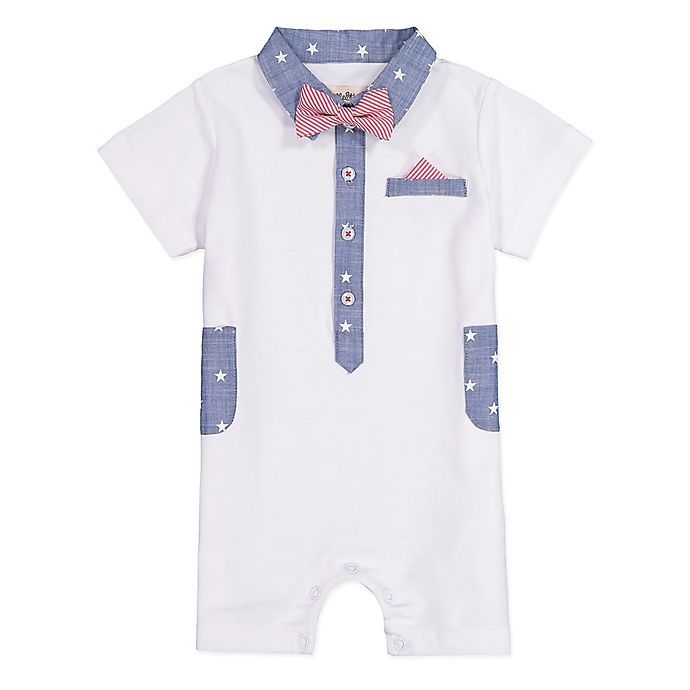 Alternate image 1 for Beetle & Thread Bow Tie Coverall in White