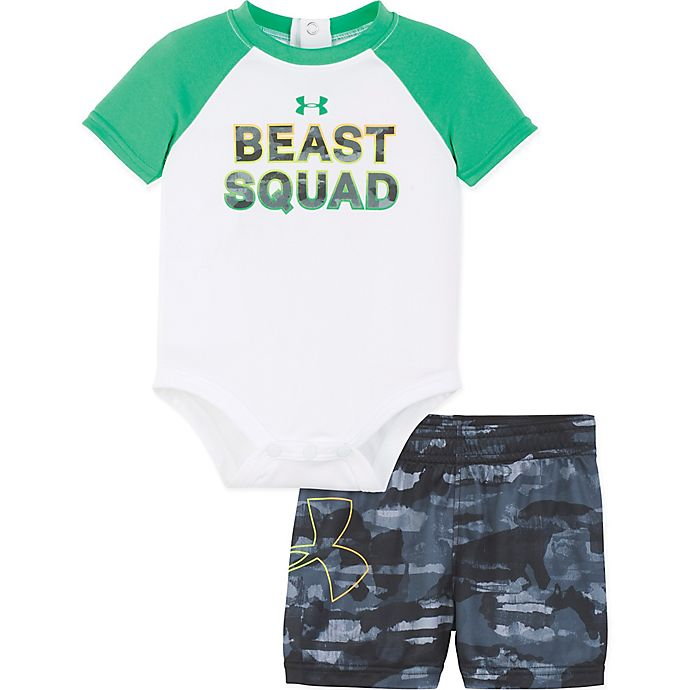 Alternate image 1 for Under Armour® 2-Piece Beast Squad Bodysuit and Short Set in Green/White