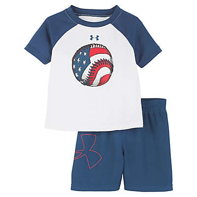 Under Armour® 2-Piece Baseball Shirt and Short Set in Blue/White