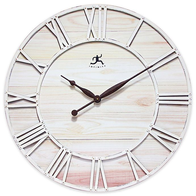 Alternate image 1 for Infinity Instruments 28-Inch Farmhouse Fusion Wall Clock in White