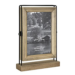 Bee & Willow™ Home 2-Photo 5-Inch x 7-Inch Reversible Pedestal Frame in Brown