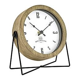 Bee & Willow 6.25-Inch Tabletop Wood Clock in Rustic Brown