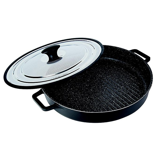 Alternate image 1 for MasterPan 12-Inch Cast Aluminum Covered Stovetop Oven Grill Pan in Black