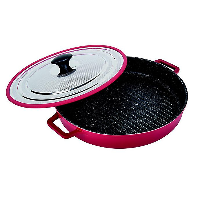 Alternate image 1 for MasterPan 12-Inch Cast Aluminum Covered Stovetop Oven Grill Pan in Red
