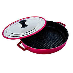 MasterPan 12-Inch Cast Aluminum Covered Stovetop Oven Grill Pan