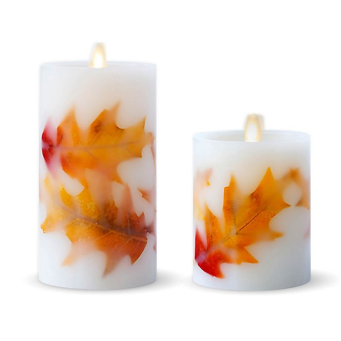 Alternate image 1 for Luminara® Fall Leaves Real-Flame Effect Pillar Candle in Ivory