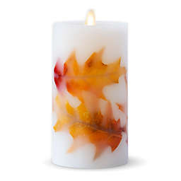 Luminara® Fall Leaves Real-Flame Effect 6.5-Inch Pillar Candle in Ivory