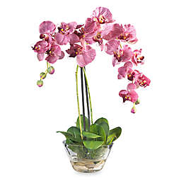 Nearly Natural Phalaenopsis with Glass Vase Silk Flower Arrangement in Purple