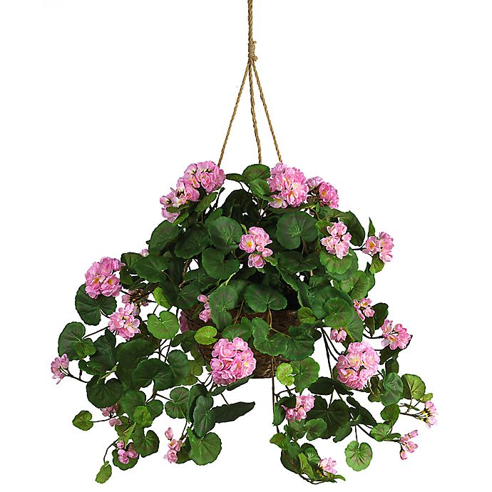 Alternate image 1 for Nearly Natural Geranium Silk Plant Hanging Basket in Pink