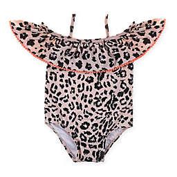 Jessica Simpson Ruffle Shoulder Animal Print 1-Piece Bathing Suit