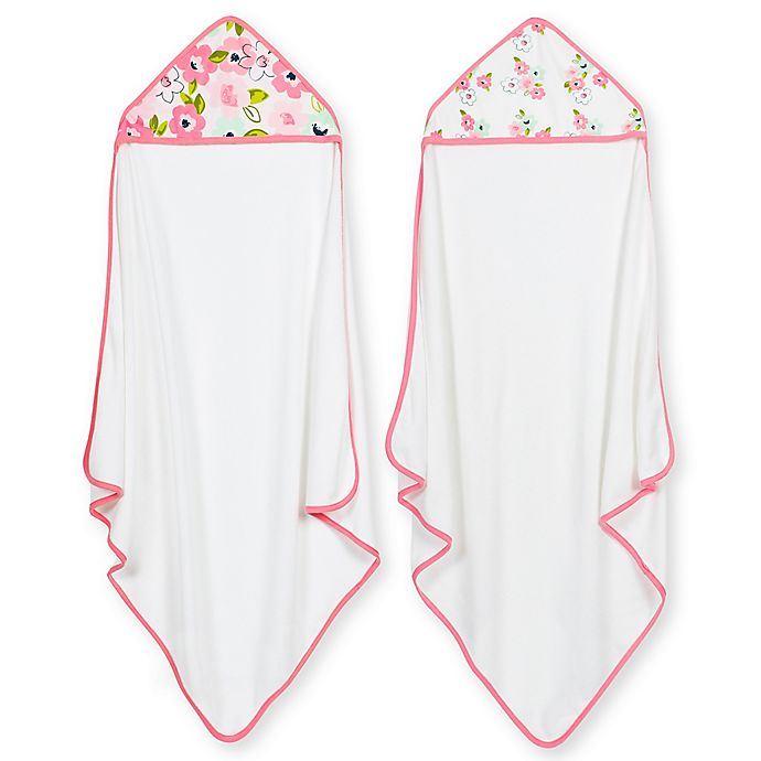 Alternate image 1 for Just Born® 2-Pack Blossom Hooded Towels in Pink