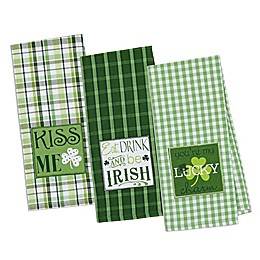 Design Imports 3-Pack St. Patrick's Day Emroidered Kitchen Towels in Green