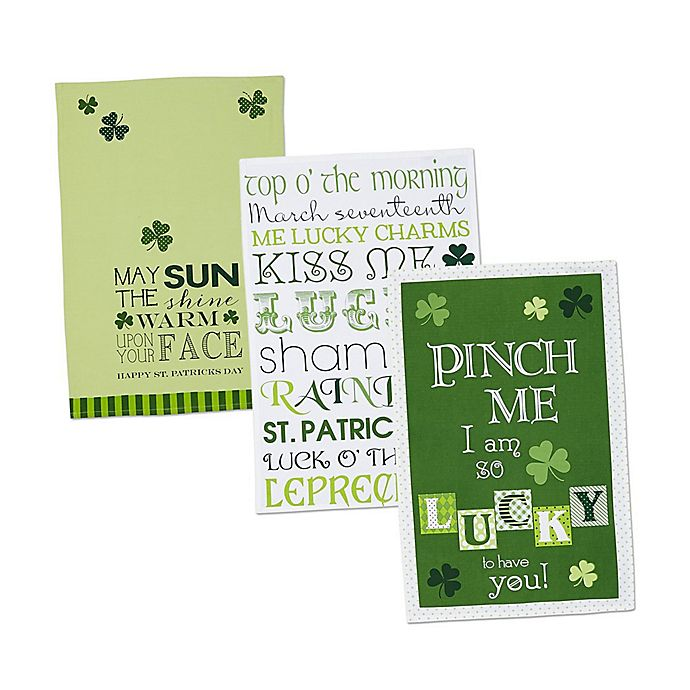 Alternate image 1 for Design Imports 3-Pack St. Patrick's Day Printed Kitchen Towels