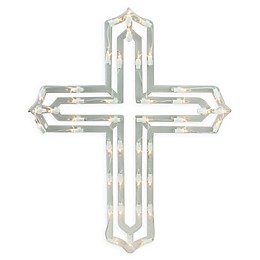 Impact 20-Inch Lighted Easter Cross Window Silhouette in Clear