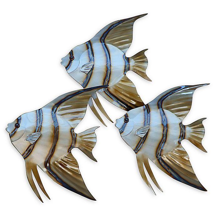 Angelfish 3 Piece Metal Wall Sculptures