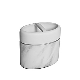 Duo Marble Toothbrush Holder in White