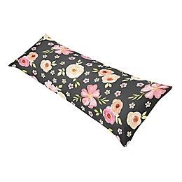 Sweet Jojo Designs® Watercolor Floral Body Pillowcase in Black/Pink