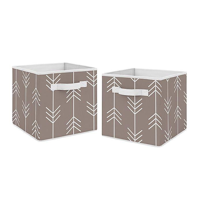 Alternate image 1 for Sweet Jojo Designs® Outdoor Adventure Arrow Fabric Storage Bins in Stone/White (Set of 2)