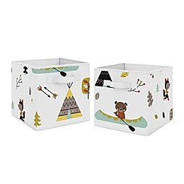 Sweet Jojo Designs® Outdoor Adventure Nature Fabric Storage Bin in Aqua/Yellow (Set of 2)