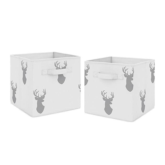 Alternate image 1 for Sweet Jojo Designs® Woodland Deer Fabric Storage Bins in Grey/White (Set of 2)