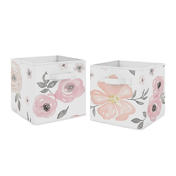 Alternate image 1 for Sweet Jojo Designs® Watercolor Floral Fabric Storage Bins in Pink/Grey (Set of 2)
